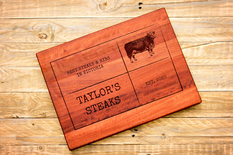 Personalised Chopping Board : BBQ : Square Logo