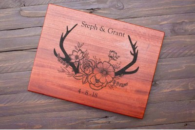 Personalised Chopping Board : BOHO Antlers and Cottage Flowers