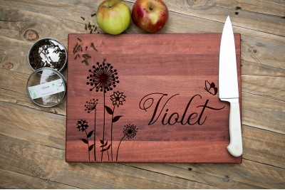 Personalised Chopping Board : Flowers and a Butterfly