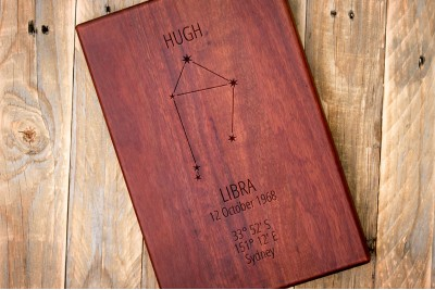 Personalised Chopping Board : Zodiac Constellation : Portrait