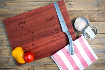 Personalised Chopping Board : Zodiac Constellation : Landscape