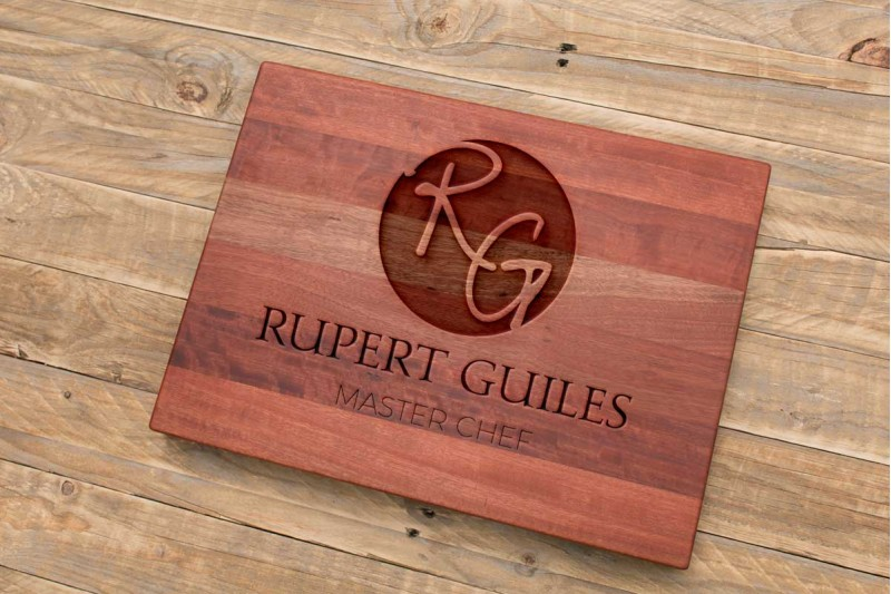 Personalised Chopping Board : Circular Monogram with Name and Chef Title