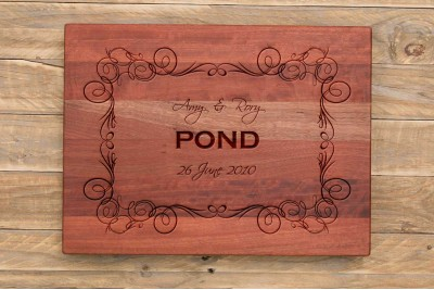 Personalised Chopping Board : Curly Border