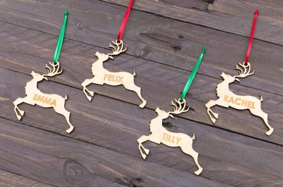 Christmas Baubles : Reindeer : Name : Bamboo