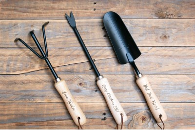 Personalised Gardening Tools : Set of 3 : Black Steel