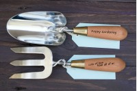 Personalised Gardening Tools : Set of 2 : Fork & Trowel : Stainless Steel