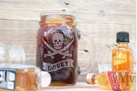 Mason Jar : Pirate : Skull & Swords with Ribbon Banner Name